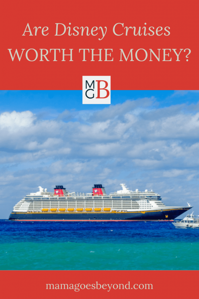 """Disney Fantasy Cruise Ship with Tenders and Blue Water/Blue Sky with text """"Are Disney Cruises Worth the Money?"""""""