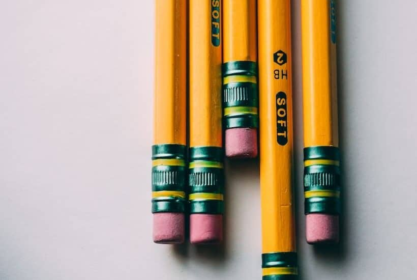yellow #2 pencils on white background