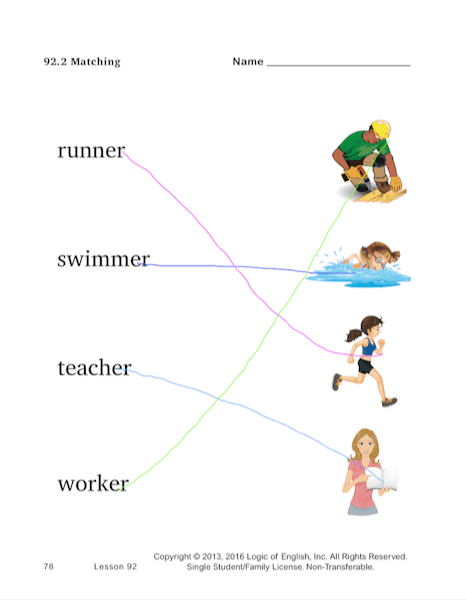 Screenshot of a matching page from a 1st grade workbook