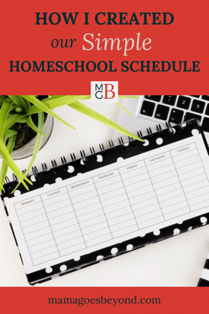 """black and white lay flat calendar scene with text """"How I created Our Simple Homeschool Schedule"""""""