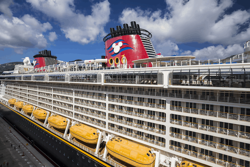 picture of Disney Cruise ship with blue sky
