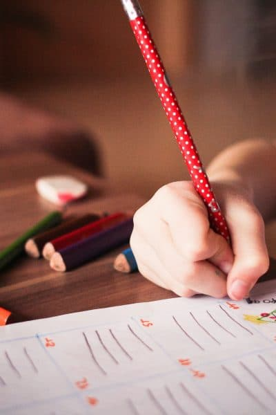 Homeschooling child working alone at table