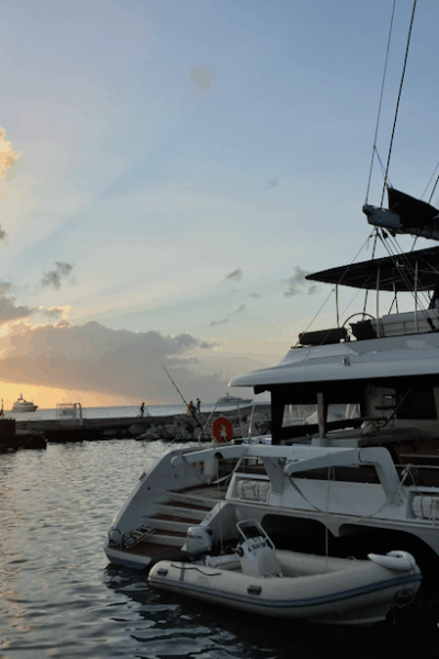 Affordable yacht cabin charter aquatopia at sunset in saint martin
