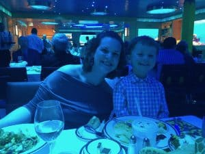 Author and Son at Dinner Onboard the Disney Fantasy Cruise Ship