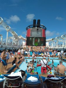 Crowded Pool Deck Onboard the Disney Fantasy Cruise Ship