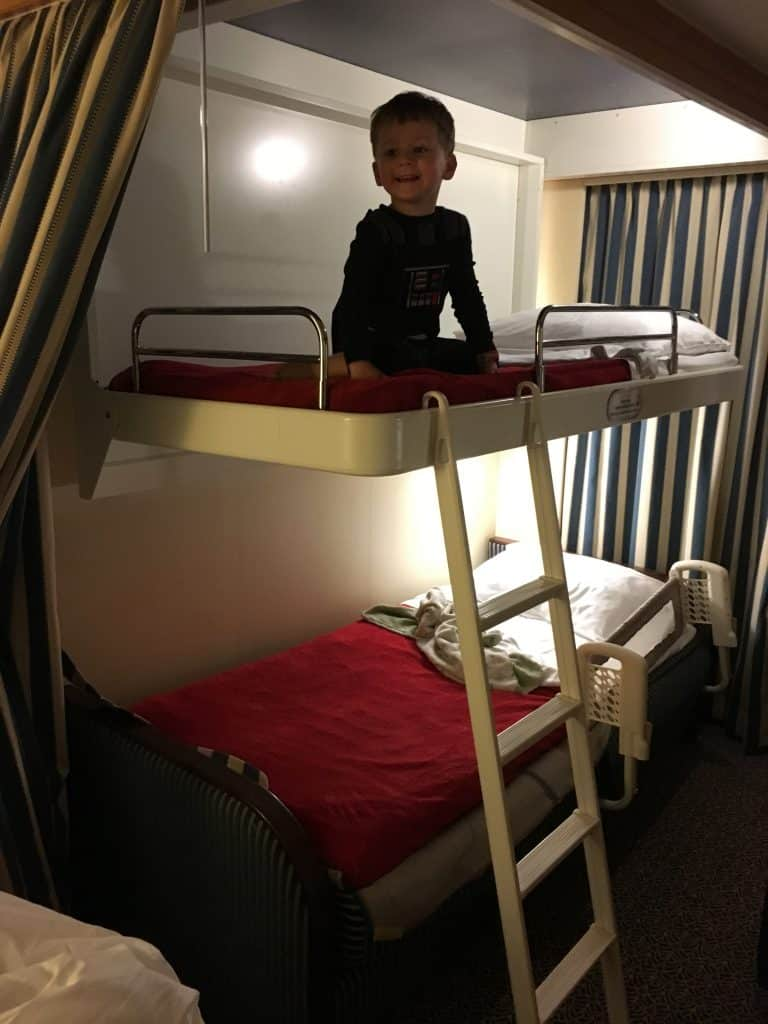 Child on Top Bunk of Disney Fantasy Cruise Ship