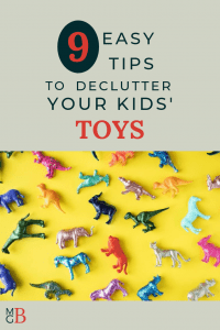"""Plastic animals on yellow background with text """"9 easy tips to declutter toys"""""""