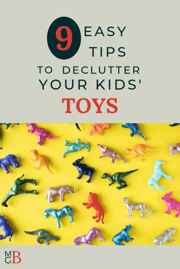 "Plastic animals on yellow background with text ""9 easy tips to declutter toys"""
