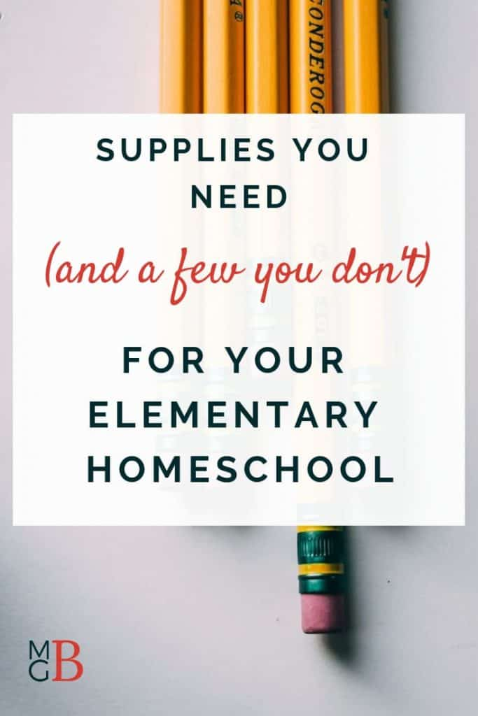 "yellow pencils on white background with text ""Supplies you need (and a few you don't) for your elementary homeschool"