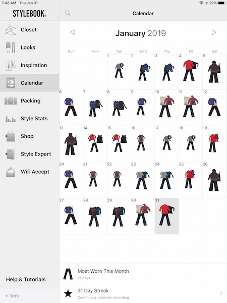 screenshot of Stylebook app clothing calendar for january 2019