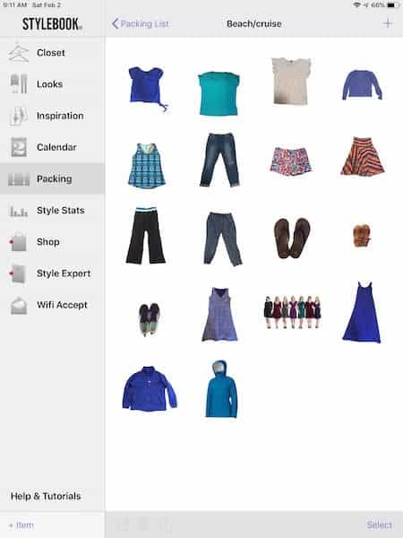 "screenshot of Stylebook app with text ""beach/cruise"" and photos of summer clothing"