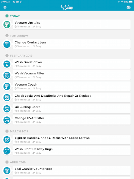 screenshot of upkeep app with tasks due in february and march