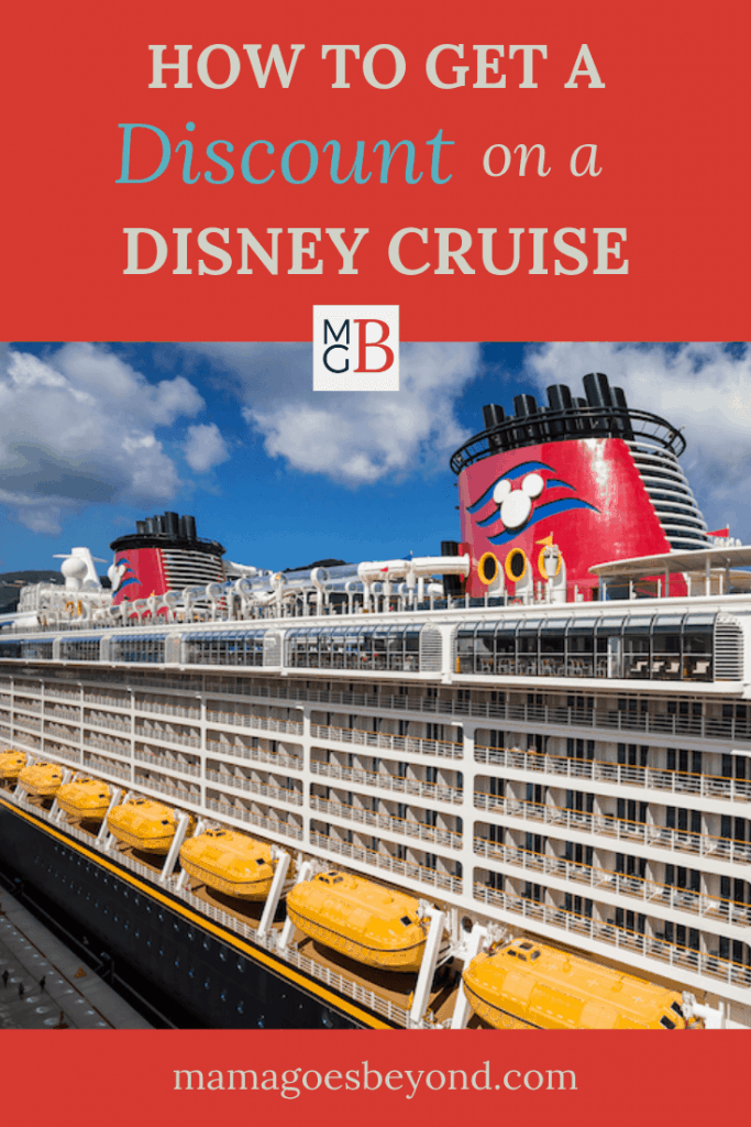 """picture of Disney Cruise ship with blue sky and text """"How to Get a Discount on a Disney Cruise"""""""