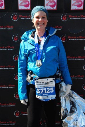 Author at the finish line after the DC Rock 'n' Roll Marathon