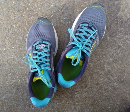 Author's teal and grey marathon running shoes