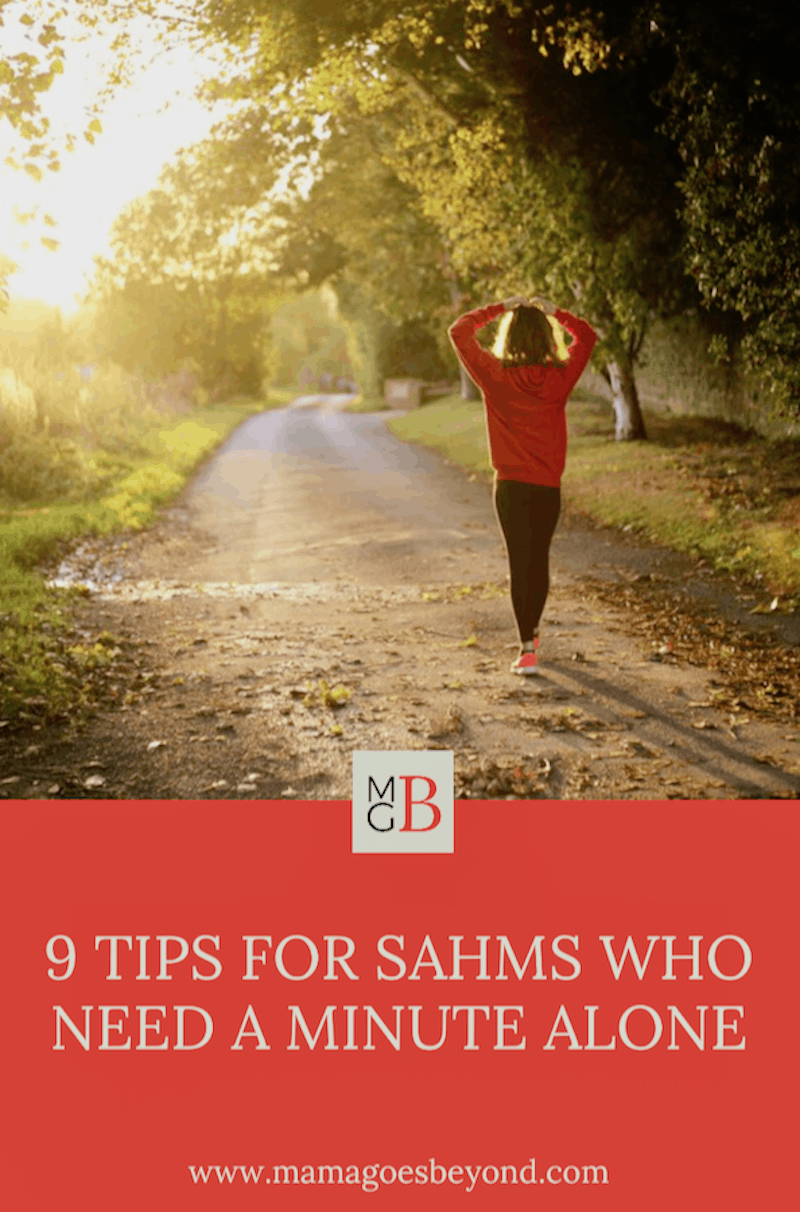 "picture of woman walking alone with text ""9 tips for shams who need a minute alone"""