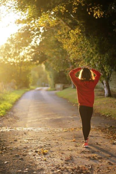 SAHM walking alone down a path